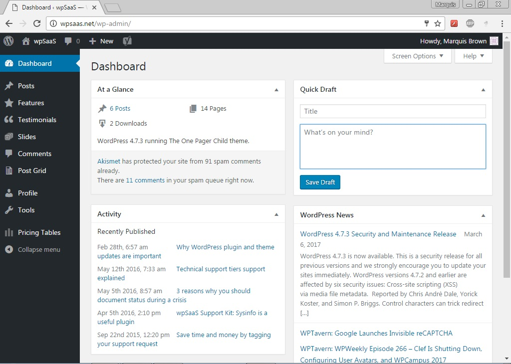 admin dashboard-wordpress-login